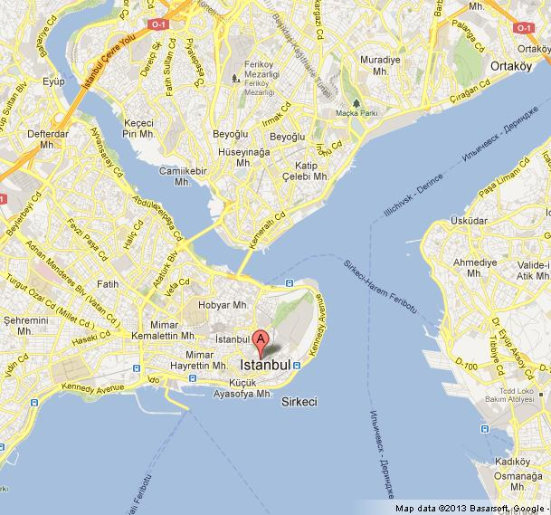 Blue Mosque On Map Of Istanbul