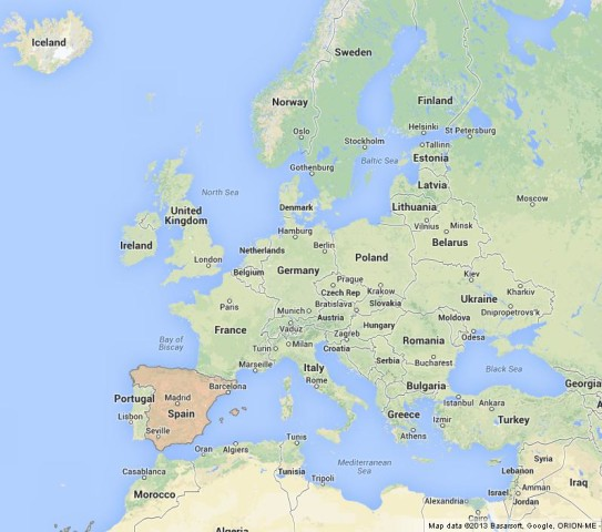 location Spain on Map of Europe