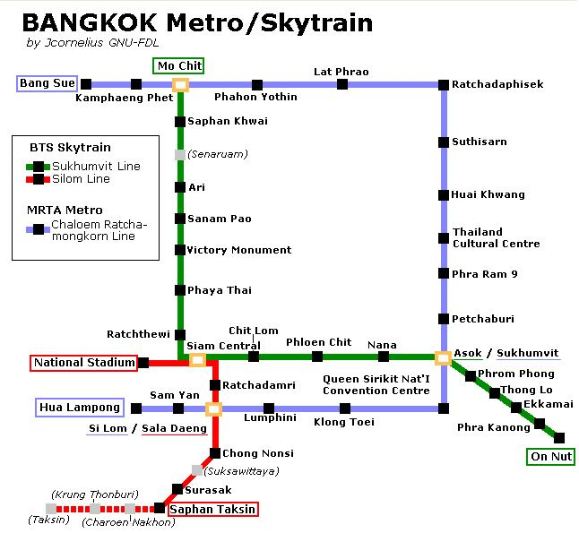 Bangkok Metro Skytrain Map  World Easy Guides