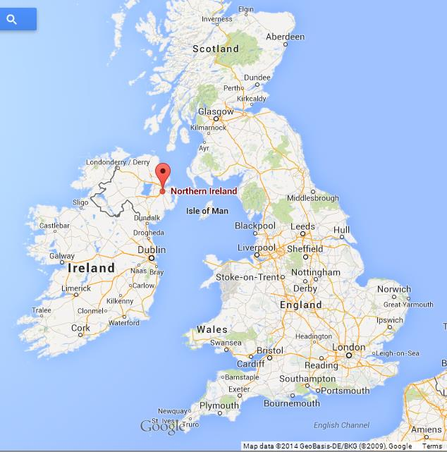 northern ireland on uk map