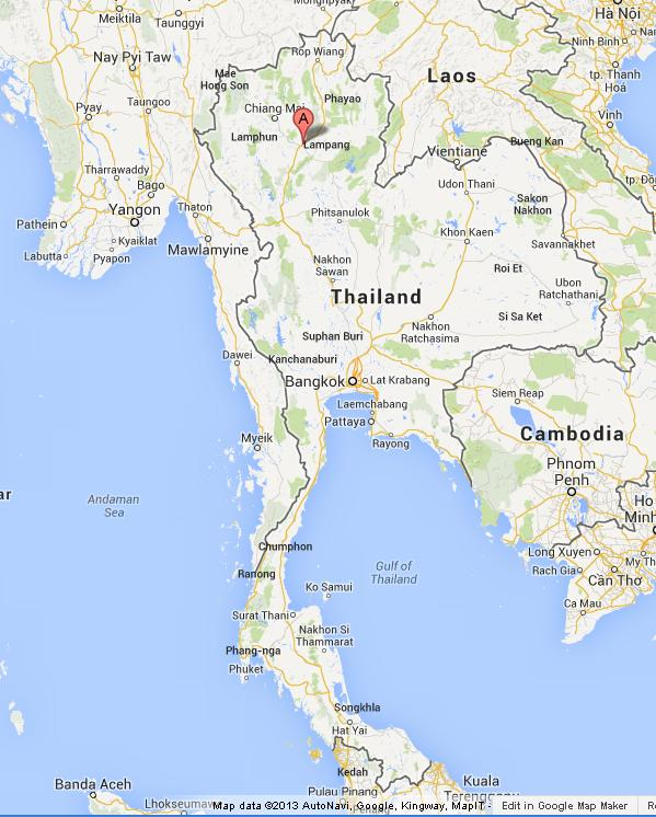 Lampang on Map of Thailand World Easy Guides