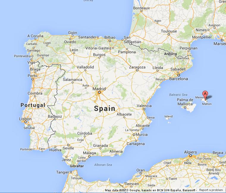 Menorca on Map of Spain