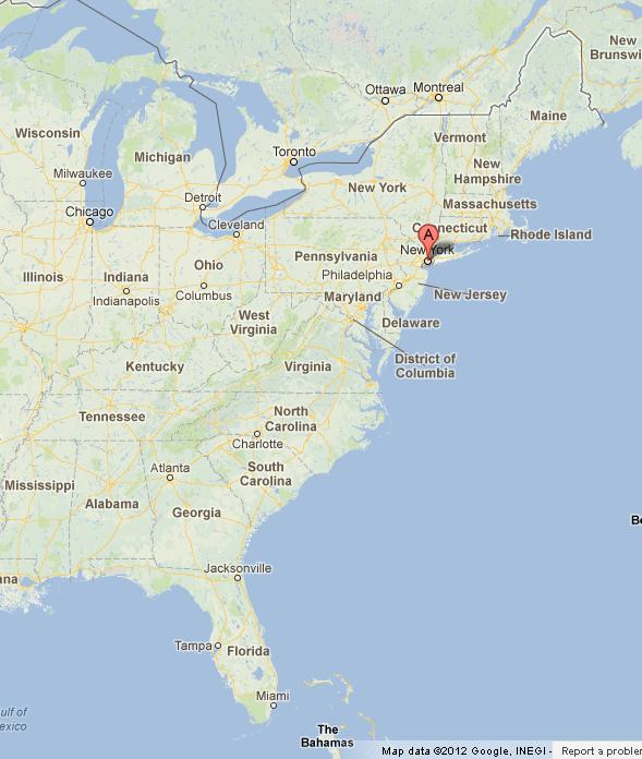 New York on USA East Coast Map