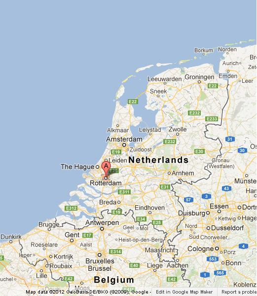 Rotterdam on Map of Netherlands