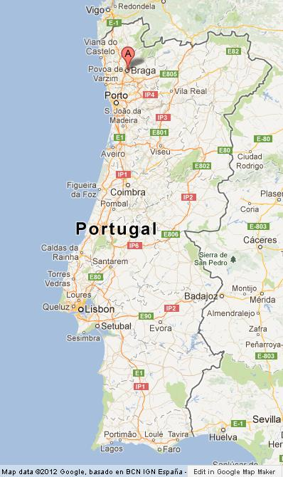 Braga on Map of Portugal