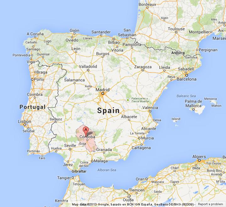 Cordoba on Map of Spain
