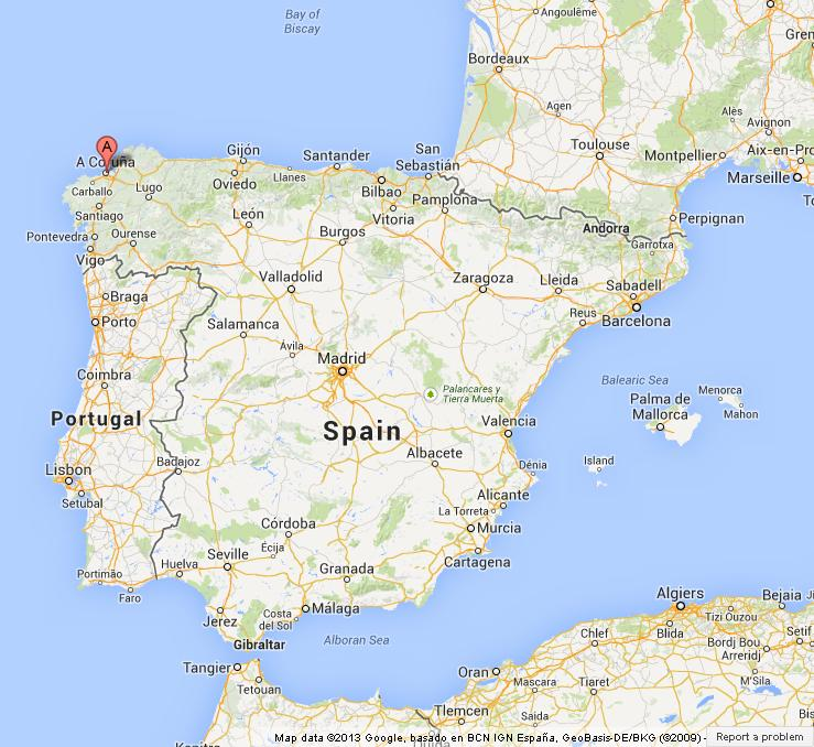 Location of corua on map of spain world easy guides where is corua on map of spain gumiabroncs Image collections
