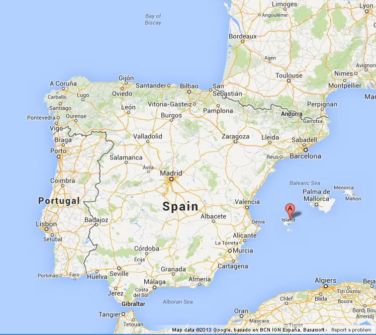 location Ibiza on Map of Spain
