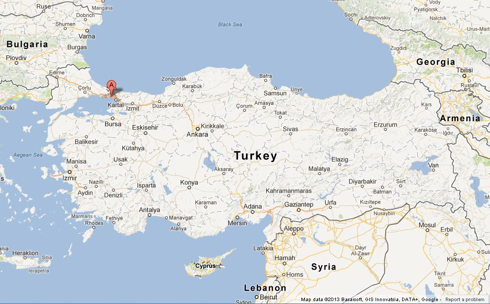 Istanbul on Map of Turkey