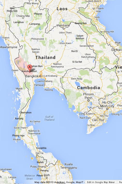 Kanchanaburi on Map of Thailand World Easy Guides