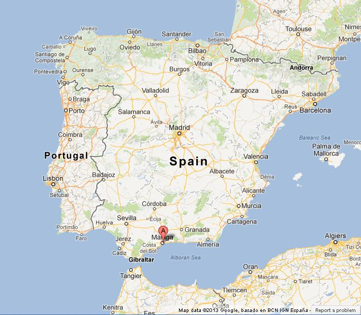 Malaga On Map Of Spain