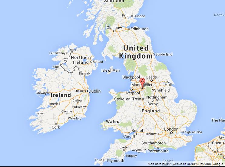 Where is Manchester on Map of UK
