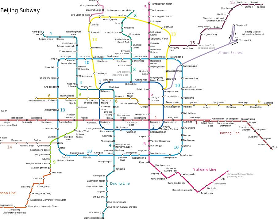 Map of Metro Bejing Subway