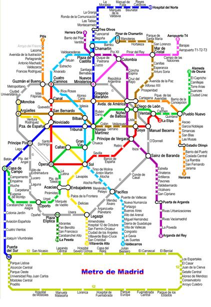 Subway Map For Madrid.Map Of Metro Of Madrid