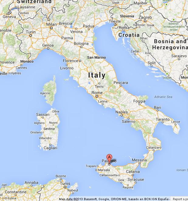 Palermo On Map Of Italy