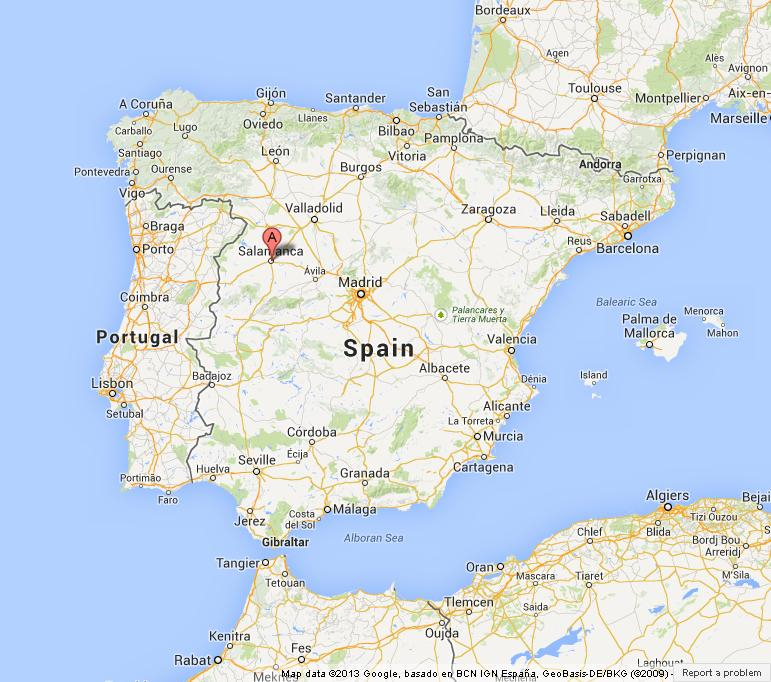 Salamanca on Map of Spain