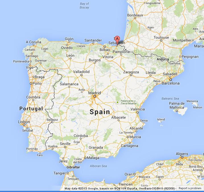 Map Of Spain In The World.San Sebastian On Map Of Spain