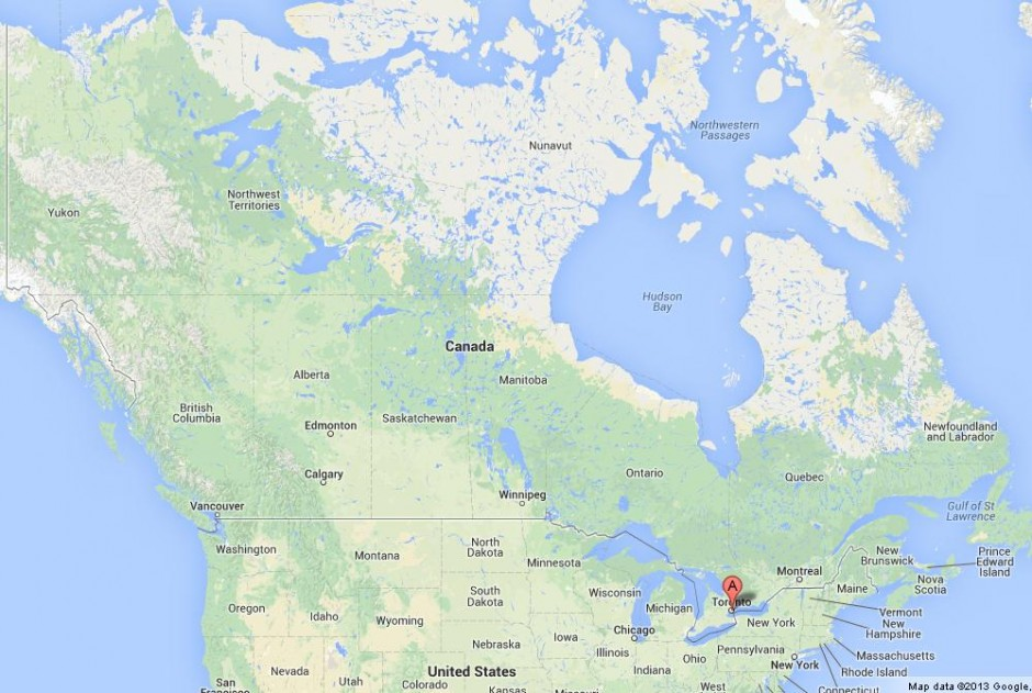 Toronto on Map of Canada