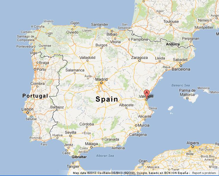 Valencia on Map of Spain World Easy Guides
