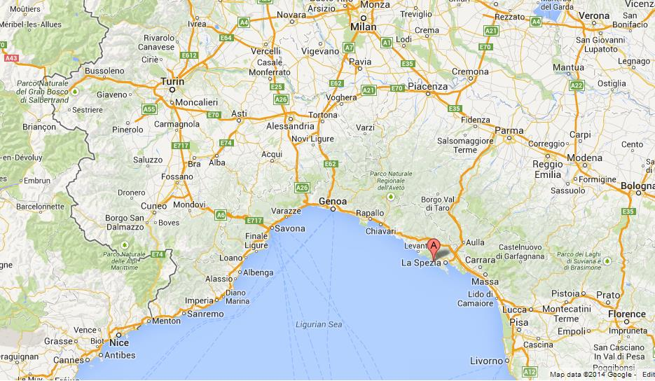 Cinque Terre On Map Of North West Italy