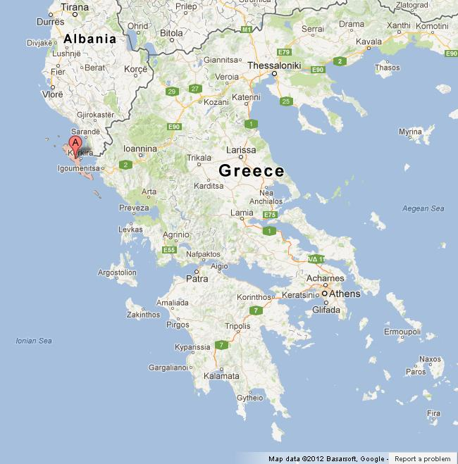 Corfu on Map of Greece World Easy Guides