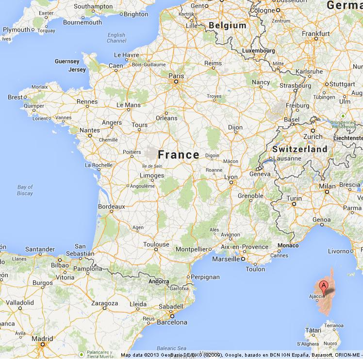 Corsica on Map of France World Easy Guides