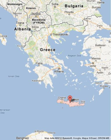 location Crete on Map of Greece