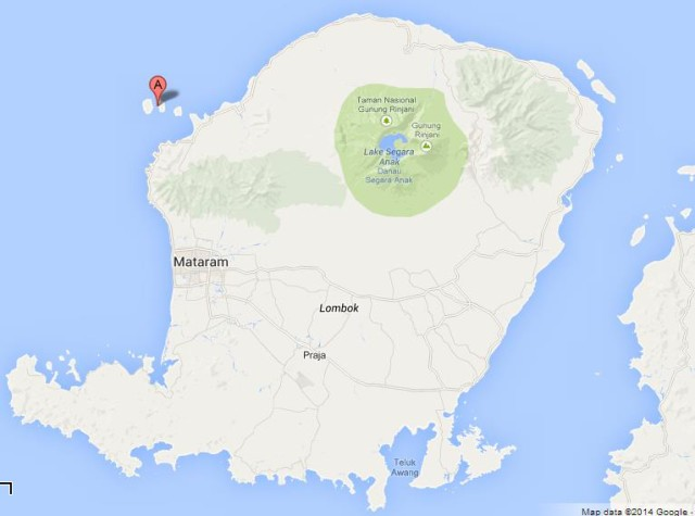 Location Gili Islands on Map of Lombok Indonesia