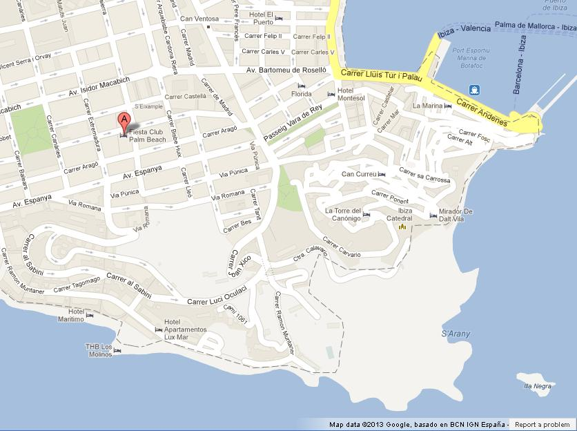 Map of Ibiza Town