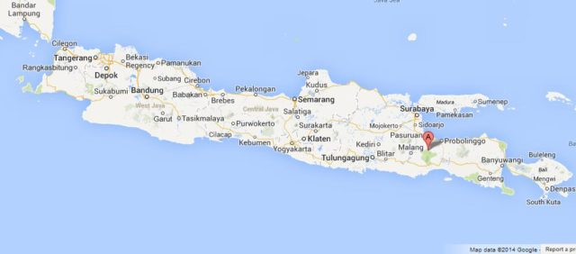 Where is Mount Bromo on Map of Java