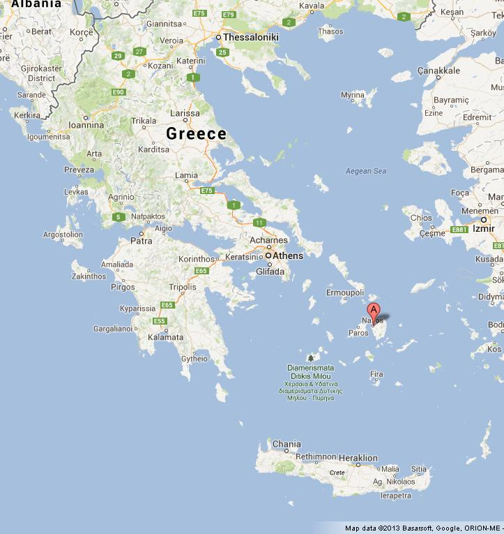 Naxos on Map of Greece World Easy Guides