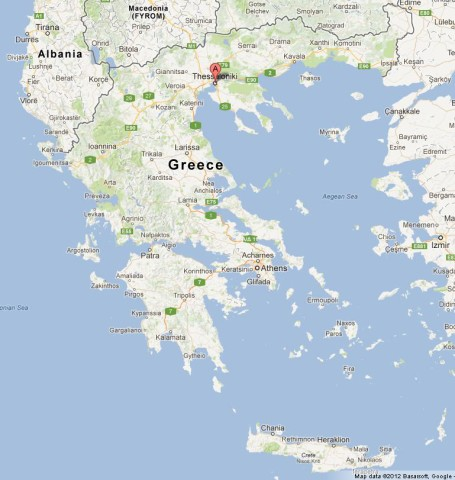 location Thessaloniki on Map of Greece