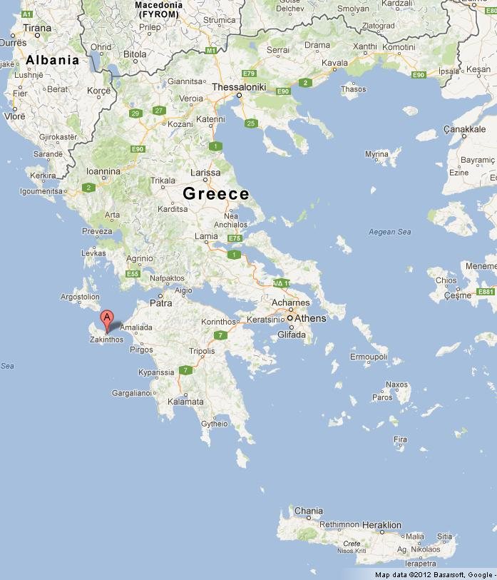Zakynthos on Map of Greece World Easy Guides