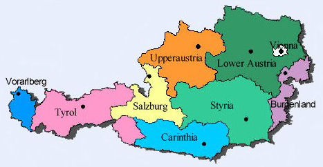map of Austria Regions