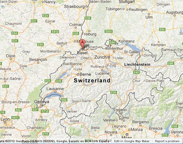 Basel on Map of Switzerland World Easy Guides