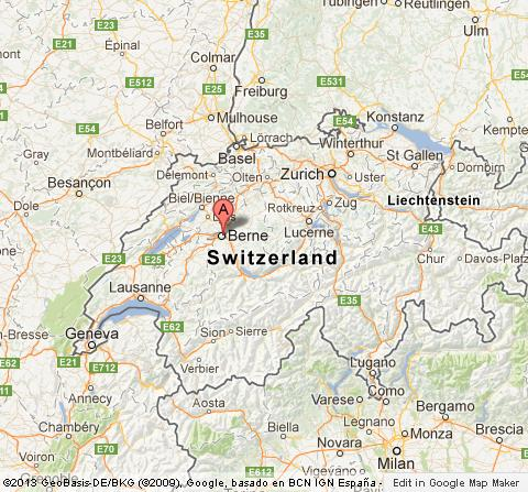 Bern on Map of Switzerland