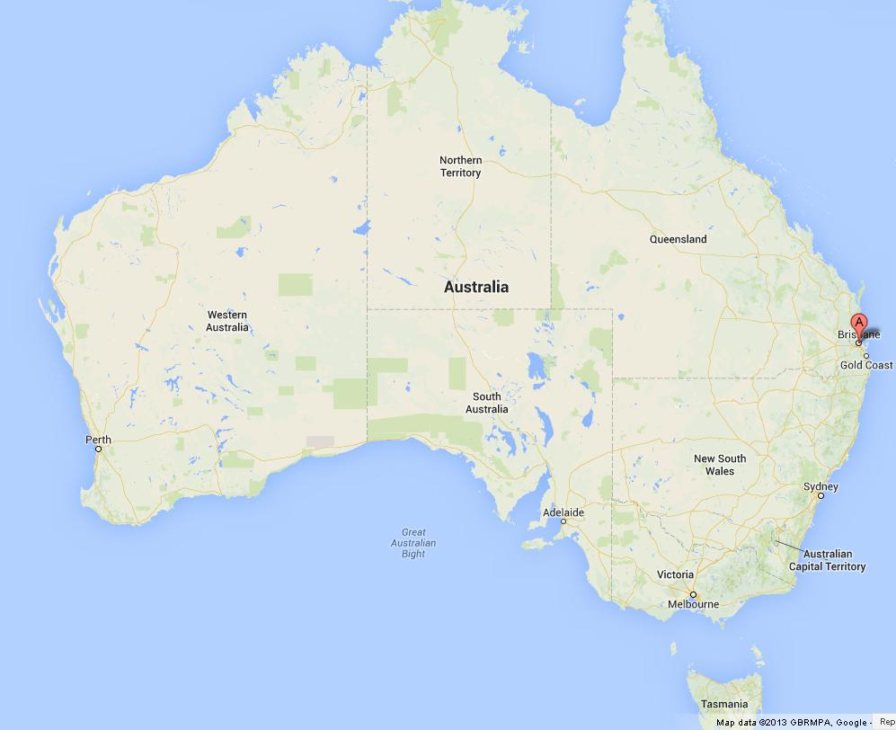 Brisbane on Map of Australia World Easy Guides