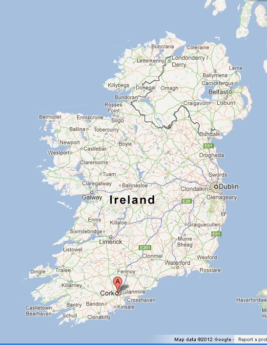 Cork on Map of Ireland World Easy Guides