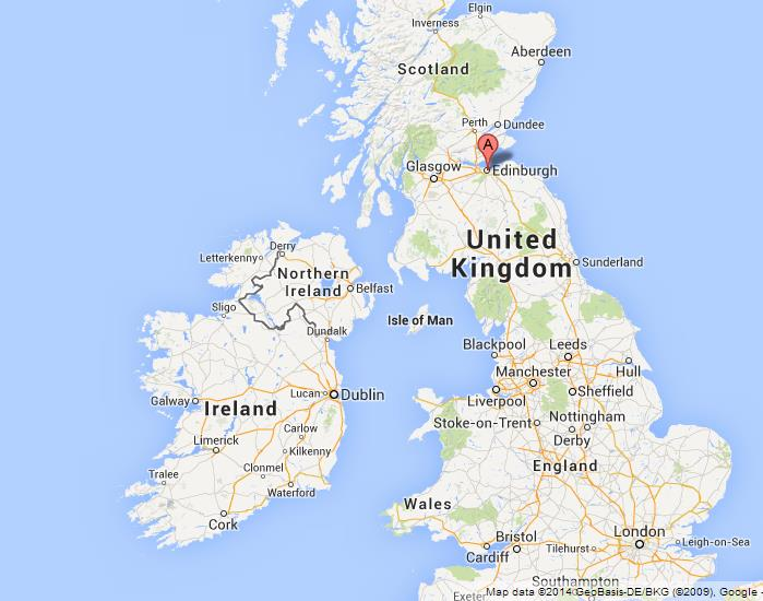Edinburgh on Map of UK World Easy Guides