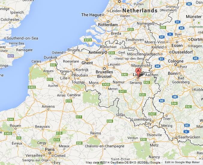 where is liege on map of belgium