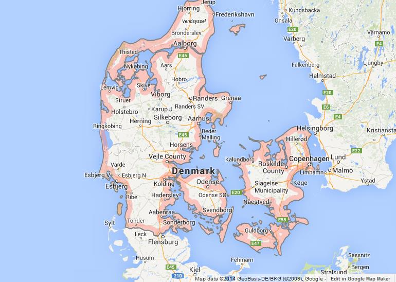 Map of Denmark World Easy Guides