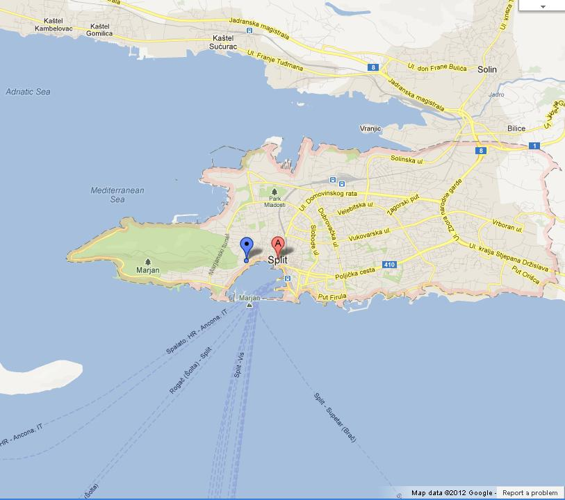 map of split croatia