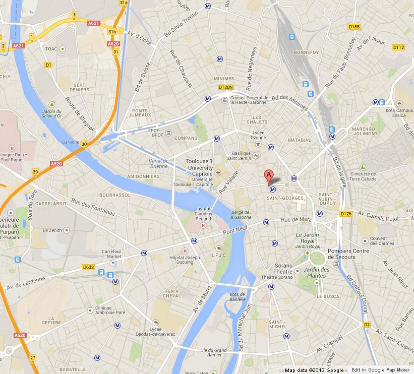 Map of Toulouse World Easy Guides