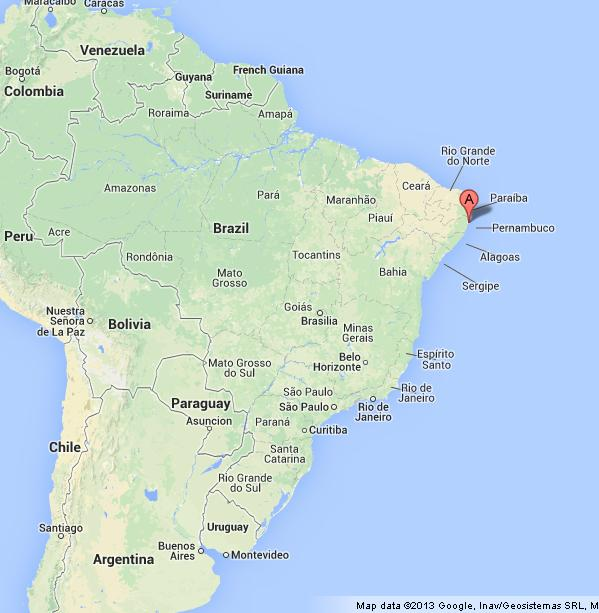Recife on Map of Brazil