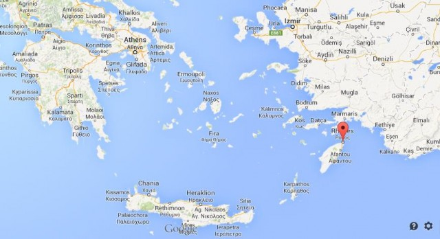location of Rhodes map of Greece