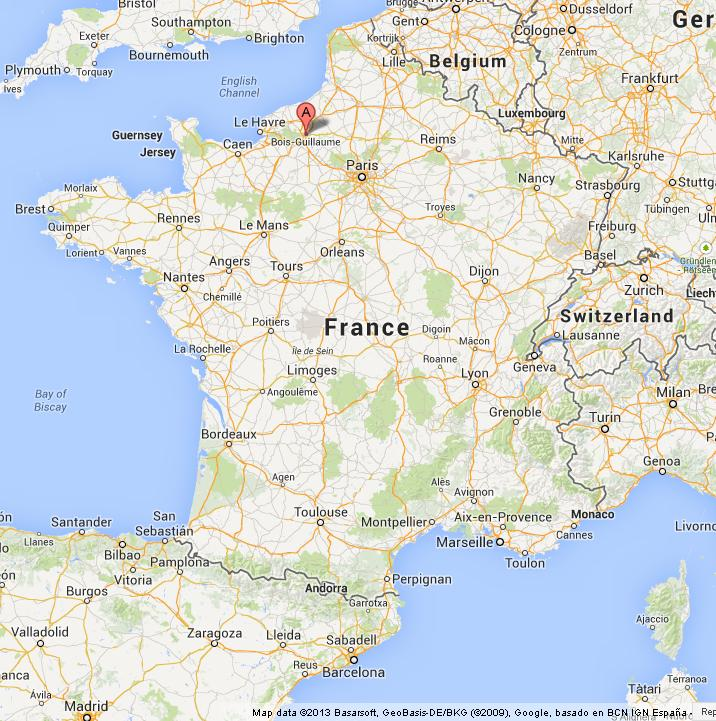Rouen on Map of France