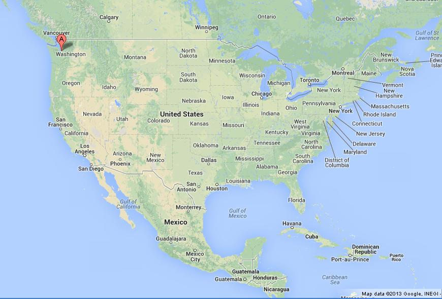 Seattle on USA Map