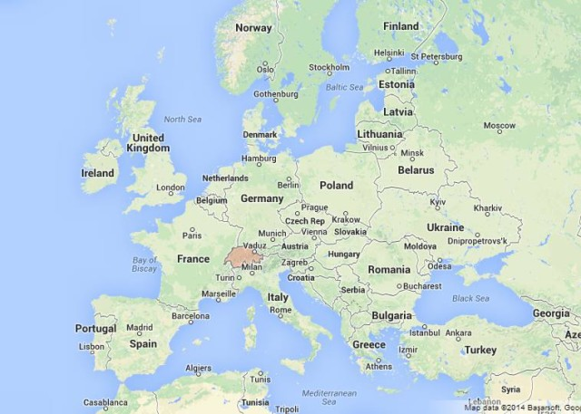 location Switzerland on Map of Europe