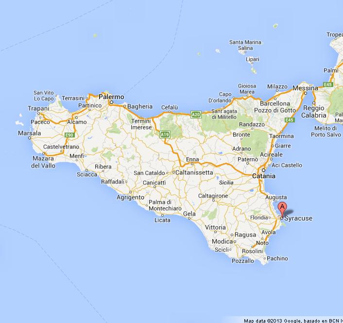 Syracuse on Map of Sicily