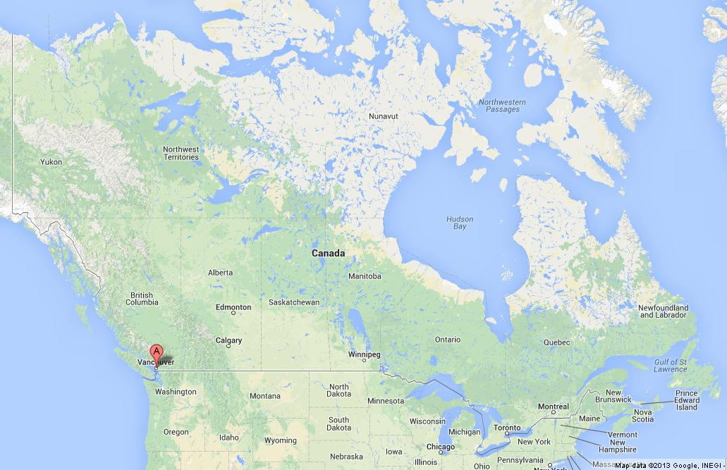 vancouver on map of canada